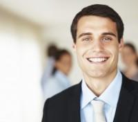 Happy man in suit smiling