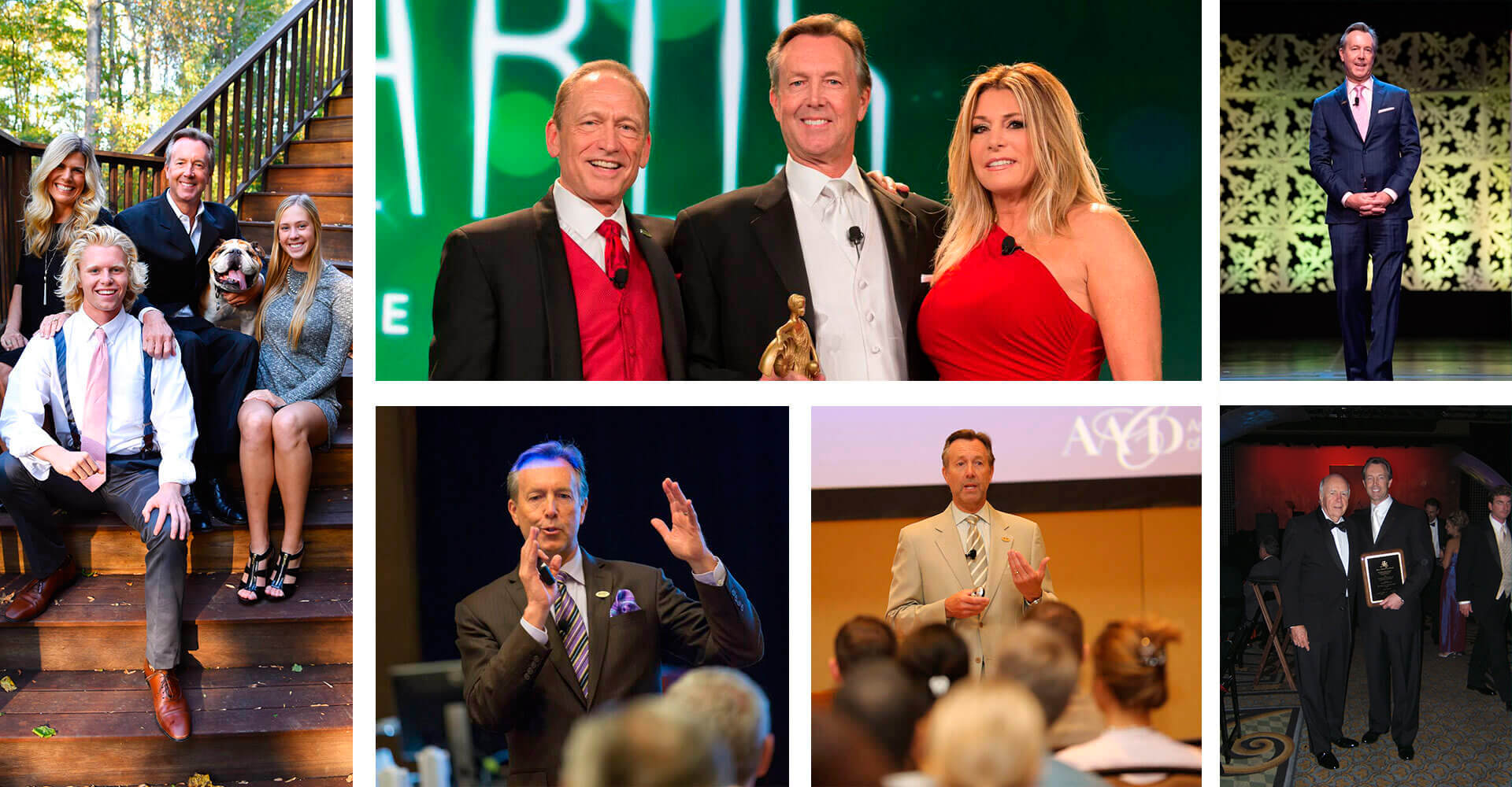 Collage of Dr. Bradley J. Olson, DDS with his family and at different awards ceremonies