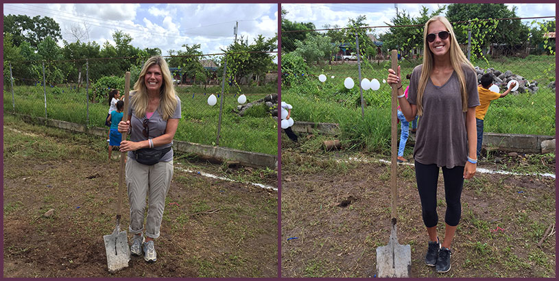 Sharron & Kelsey Olson Breaks The Ground At The Ceremony In Guatemala. Building Schools