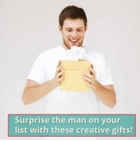 Happy man with a present