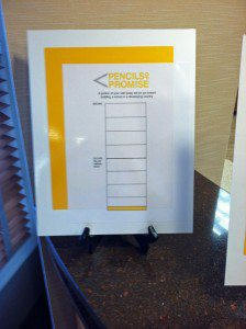 Donation chart front desk display.